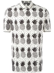 Dolce And Gabbana Pineapple Print Polo Shirt Nude Neutrals