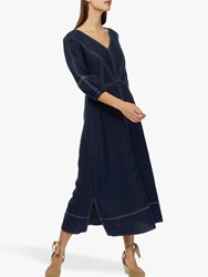 Brora Linen Contrast Stitch Dress Navy