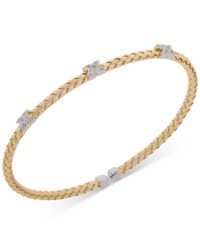 Giani Bernini X Cz Weave Bangle Stack Bracelet In Sterling Silver Gold Plated Or Rose Gold Plated Sterling Silver