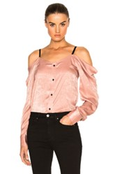 Frankie Satin Off The Shoulder Top In Pink
