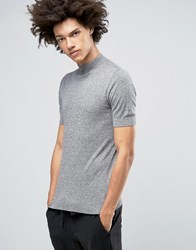 Asos Knitted Turtleneck T Shirt In Gray Gray