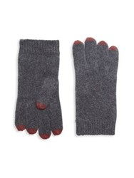 Saks Fifth Avenue Knit Touch Tech Cashmere Gloves Charcoal