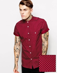 Asos Shirt In Short Sleeve With Polka Dot Print And Grandad Collar Burgundy
