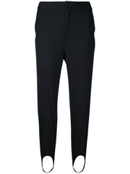 Le Ciel Bleu Strap Detail Slim Trousers Black