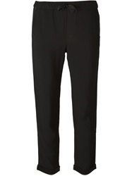 7 For All Mankind Cropped Cigarette Trousers Black