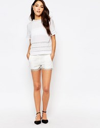 French Connection Castaway Mini Shorts In Lace Summer White