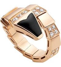 Bulgari Serpenti 18Ct Pink Gold And Black Onyx Ring