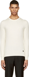 Burberry Ivory Cable Knit Sweater