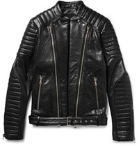 Balmain Quilted Textured Leather Biker Jacket Black