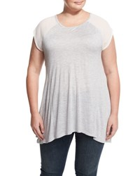Vince Camuto Short Sleeve Knit Chiffon Combo Blouse Grey Hthr