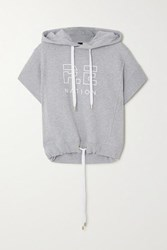 P.E Nation Free Formation Oversized Printed Cotton Terry Hoodie Light Gray