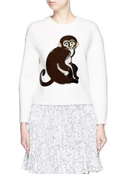 Chictopia Monkey Applique Scuba Jersey Sweatshirt White