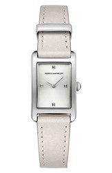 Rebecca Minkoff Moment Leather Strap Watch 19Mm X 30Mm Putty White Silver