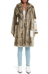 Martine Rose Shaved Faux Fur Flier Coat Mottled Brown With Flyer