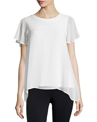 Design History Chiffon Flutter Sleeve Tee Pearl