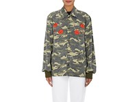 Opening Ceremony Women's Embroidered Camouflage Cotton Jacket Green