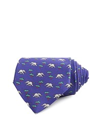 Thomas Pink Elephant And Tree Print Classic Tie Navy Gray