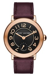 Marc Jacobs Women's 'Riley' Round Leather Strap Watch 36Mm