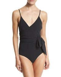 Stella Mccartney Timeless Basics Wrap One Piece Swimsuit Black