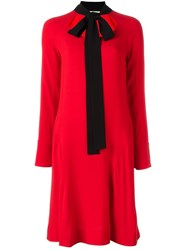 Marni Contrasting Neck Tie Dress Red