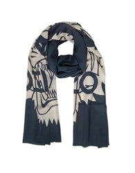 Kenzo Wool And Silk Crest Tiger Stole Cream Navy Blue