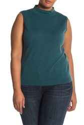 Lafayette 148 New York Cashmere Sleeveless Sweater Plus Size Deco Teal