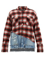 Greg Lauren Studio Denim And Tartan Shirt Black Red