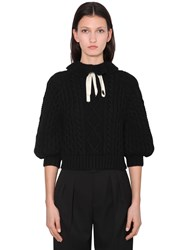 Red Valentino Ruffled Wool Blend Knit Sweater Black