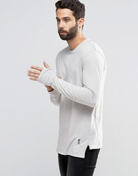 Religion Long Sleeve T Shirt With Stepped Front Quicksilver Grey
