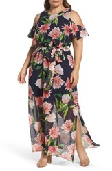 Eliza J Plus Size Women's Floral Chiffon Cold Shoulder Maxi Dress Navy Coral