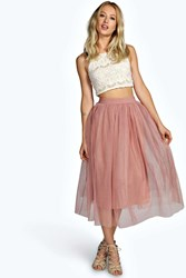Boohoo Boutique Sophie Tulle Mesh Full Circle Midi Skirt Taupe
