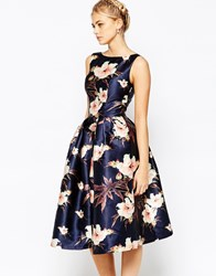 Chi Chi London Full Prom Skater Dress In Floral Print Navymulti