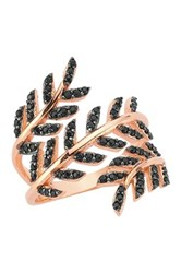 Amorium Rose Gold Plated Sterling Silver Black Cz Triple Leaf Ring