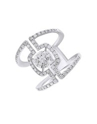 Effy Pave Classica Diamond And 14K White Gold Ring 0.9 Tcw