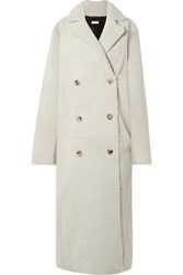 Utzon Reversible Double Breasted Shearling Coat Off White
