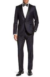 Men's Big And Tall Strong Suit 'Aston' Trim Fit Solid Wool Tuxedo Navy
