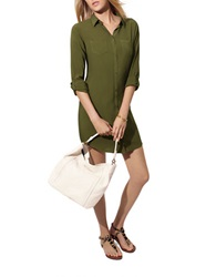 Candc California Button Down Shirtdress Dark Olive