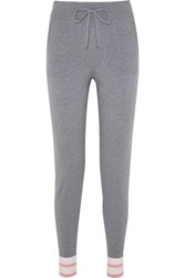 Equipment Elsie Striped Stretch Knit Track Pants Gray