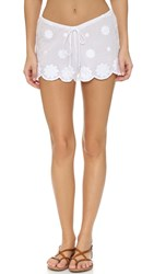 Miguelina Molly Daisy Embroidered Shorts Pure White