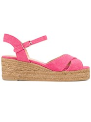 Castaner Classic Wedge Sandals Women Leather Canvas Rubber 40 Pink Purple
