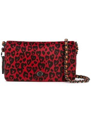 Coach Leopard Print Cross Body Bag Red
