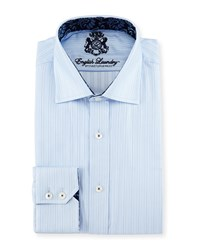 English Laundry Rope Stripe Woven Dress Shirt Blue
