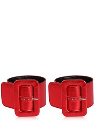 Attico Metallic Leather Ankle Cuffs Red