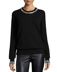 Michael Kors Embellished Cashmere Sweater Black