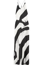 Ann Demeulemeester Beaded Printed Silk Blend Maxi Dress White