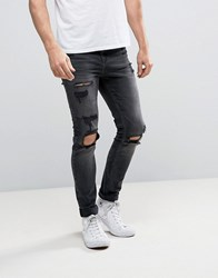 New Look Skinny Jeans With Rips In Washed Black Black