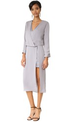 Halston V Neck Draped Midi Dress Grey