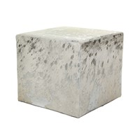 Amara Acid Burnt Cow Skin Cube Pouf White Silver