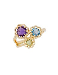 Lord And Taylor 14K Yellow Gold Multi Stone Flower Ring