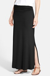 Women's Bobeau Ruched Waist Side Slit Maxi Skirt Black